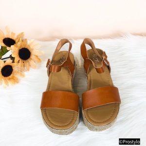 JUST IN‼️ TAN ESPADRILLE PLATFORM SANDALS- Shoe